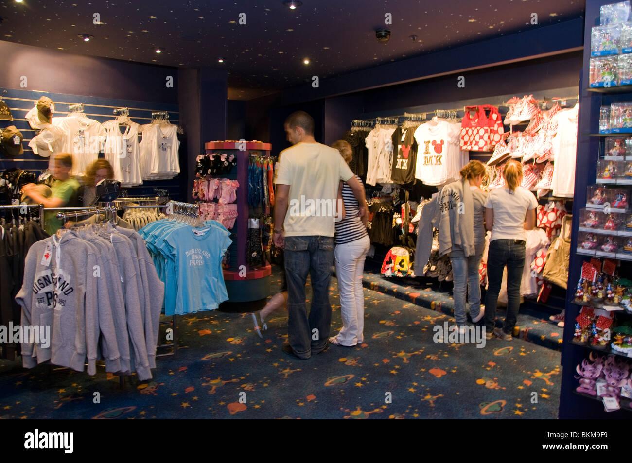 Paris, France, Theme Parks, Tourists Visiting Disneyland Paris, Shopping in Clothing Stores - Stock Image