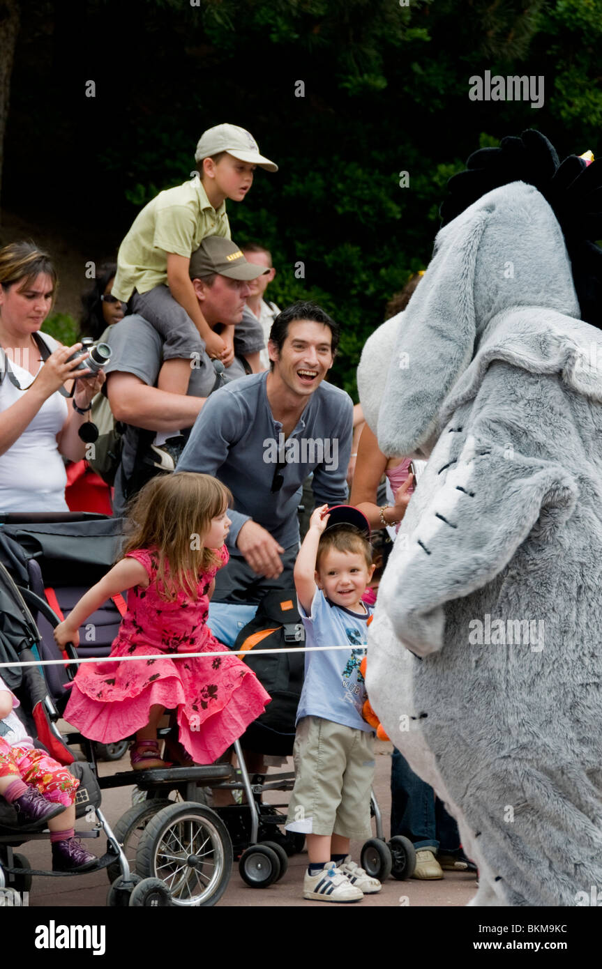 Paris, France, Theme Parks, Crowd Scene, Families with Children, Visiting Disneyland Paris, Watching Parade Costumed - Stock Image