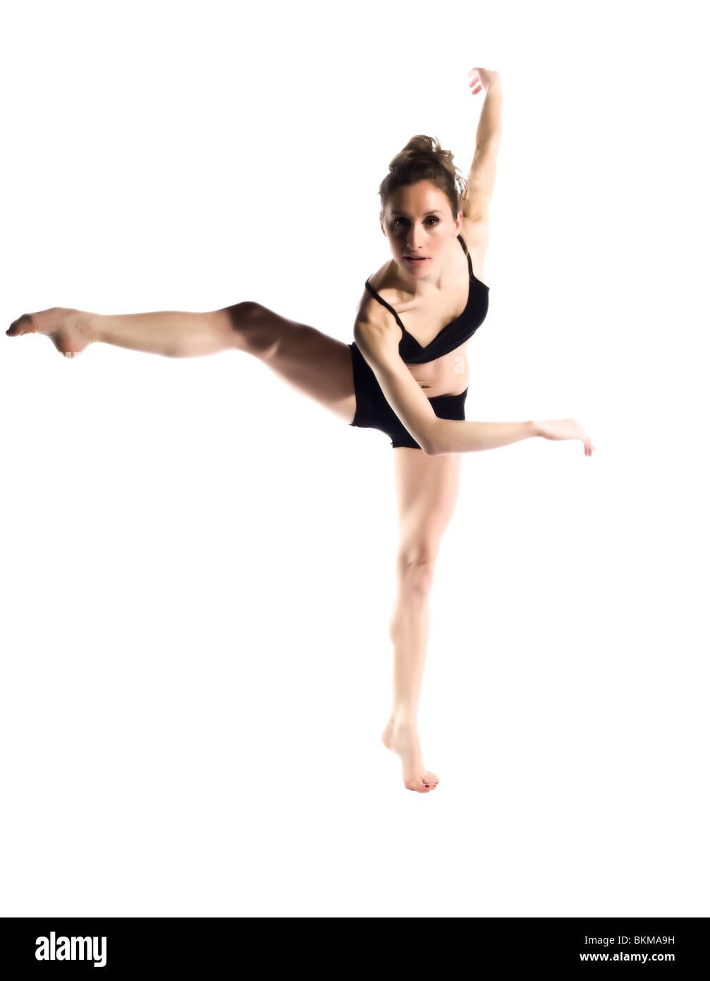 female ballerina on white background - Stock Image