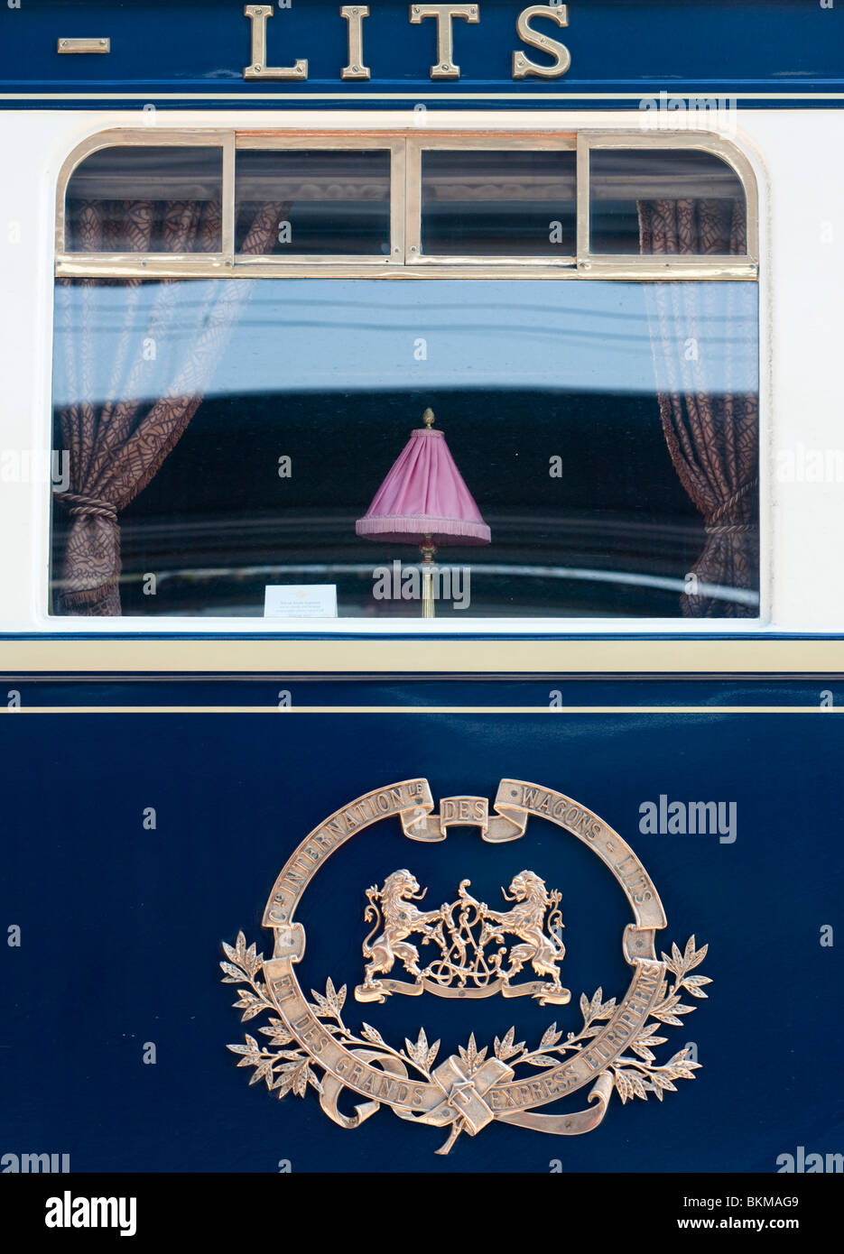 Detail of Orient Express luxury railway carriage - Stock Image