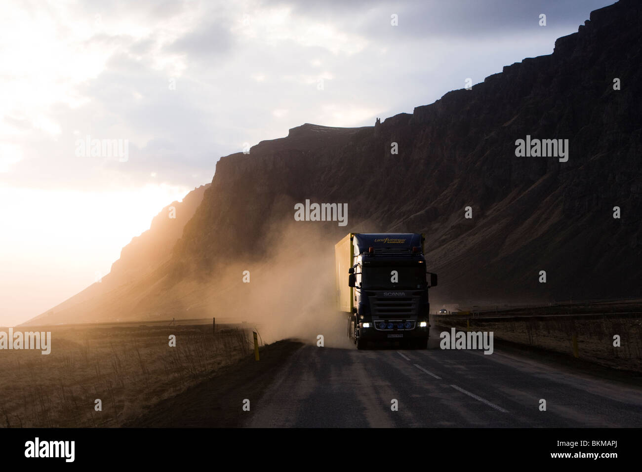 Highway 1 is a sealed road but is covered by volcanic ash from the volcanic eruption in Eyjafjallajokull glacier, Stock Photo
