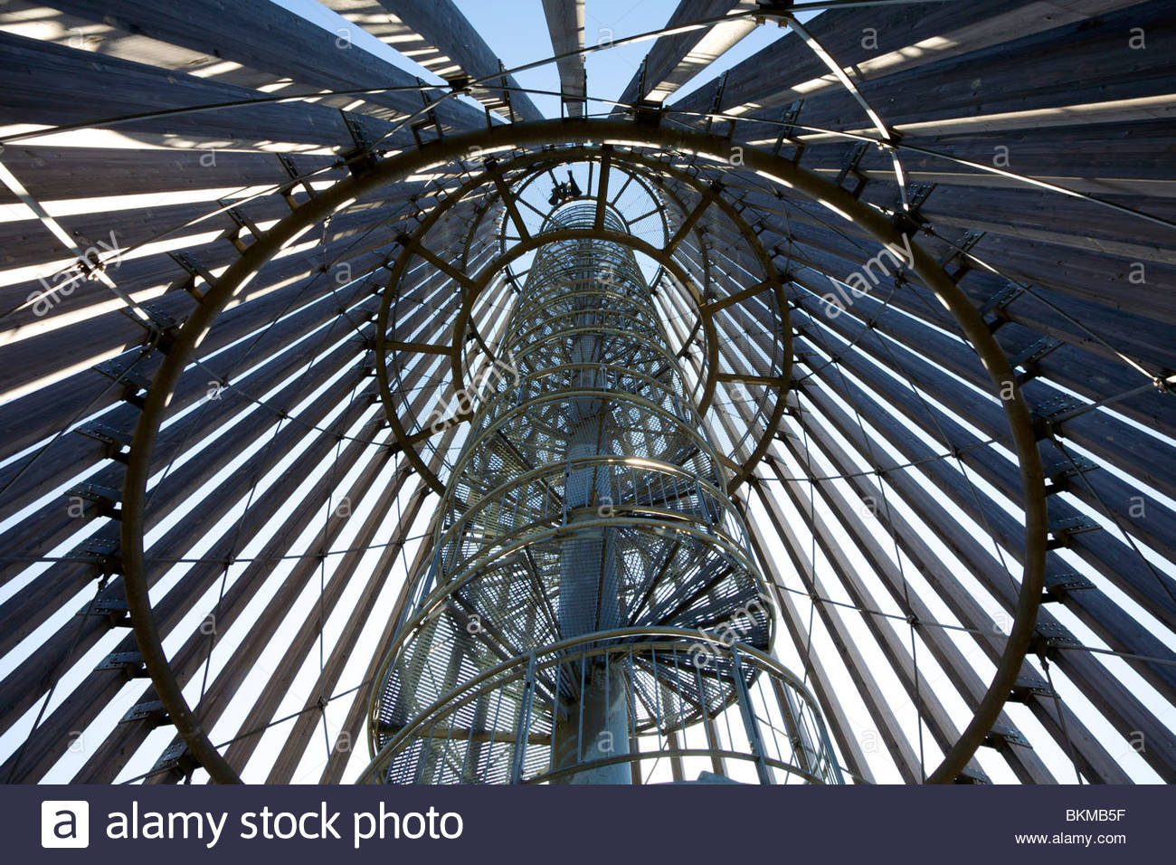 Looking up into the lookout tower (Aussichtsturm) on the Cospuder See, Leipzig, Germany - Stock Image