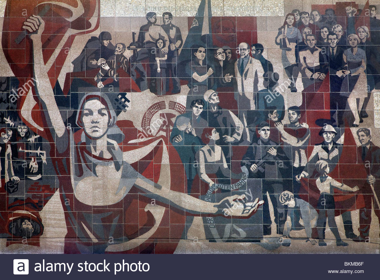 Communist propaganda mural on the wall of the Kulturpalast in Dresden, Germany. Stock Photo