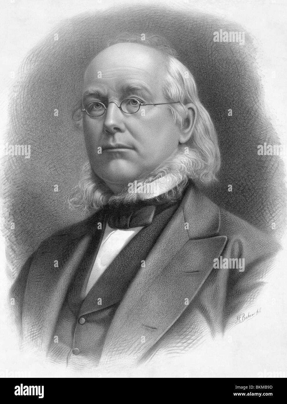 Vintage portrait print circa 1872 of American newspaper editor and politician Horace Greeley (1811 - 1872). - Stock Image