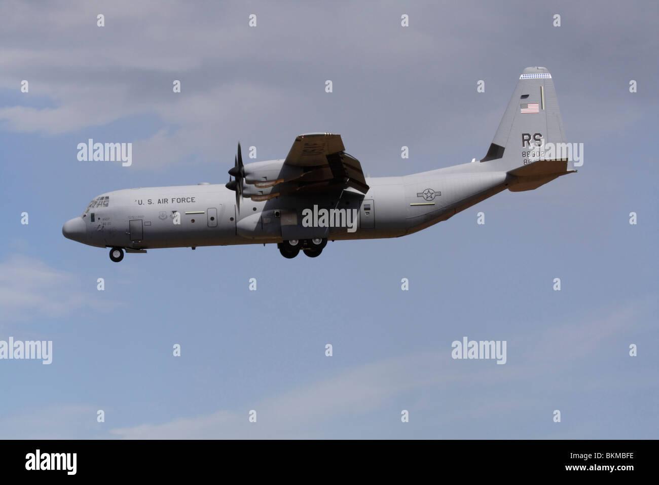US Air Force Lockheed Martin C-130J-30 Hercules cargo plane. Military air transport. - Stock Image