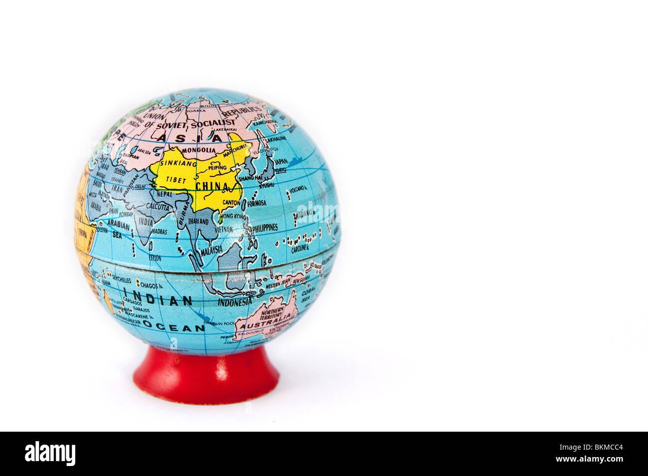 A model terrain globe. Asia and Oceania is shown - Stock Image