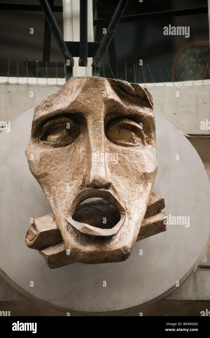 Conservatoire d'Art Dramatique, Detail, Sculpture on Facade, Old COncert Theater, Paris, France - Stock Image