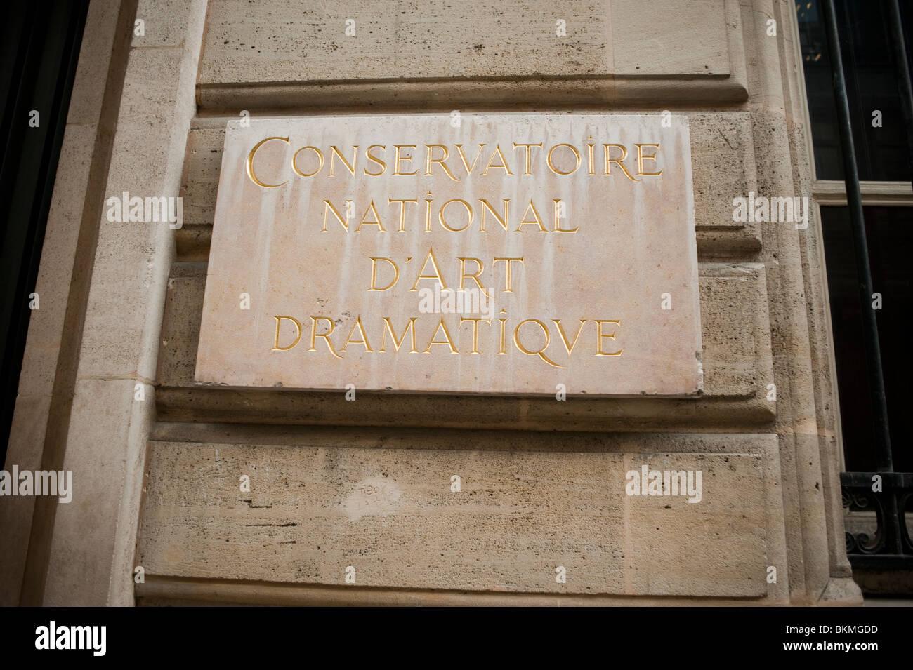 Conservatoire d'Art Dramatique, Detail Plaque on Facade, Old Music Theater, Front, Paris, France - Stock Image
