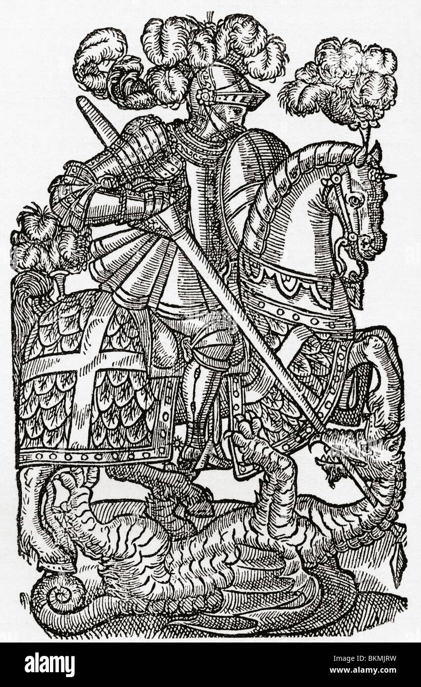 The Red Cross Knight, St. George and the Dragon, - Stock Image