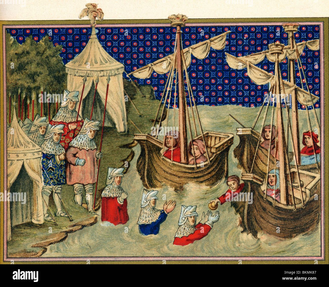 Scene from Richard II's campaign in Ireland in 1394. Ships bringing provisions to the English army. - Stock Image