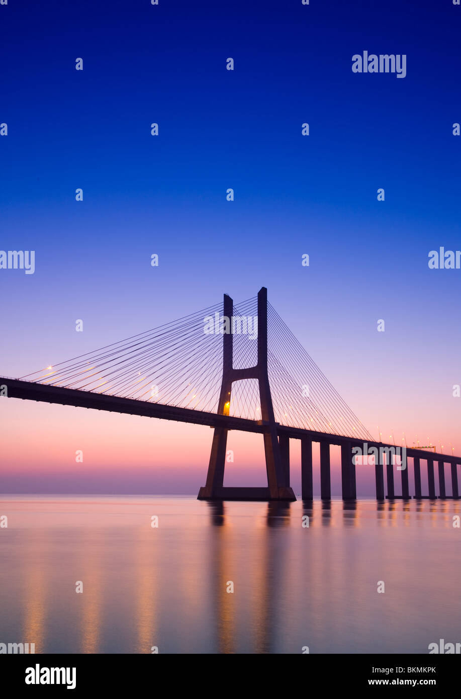 Vasco Da Gama suspension bridge at dawn, Lisbon, Portugal - Stock Image