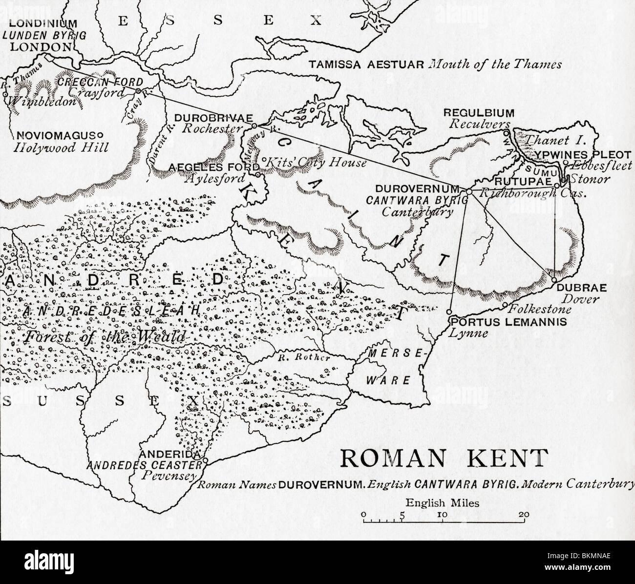 Map of Roman Kent, England. - Stock Image