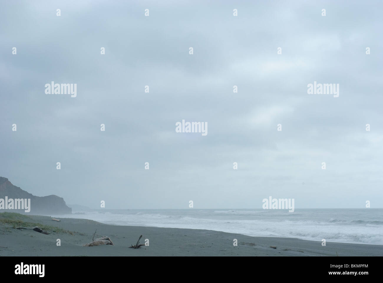 Empty overcast beach in northern California with a lot of negative space for copyspace - Stock Image
