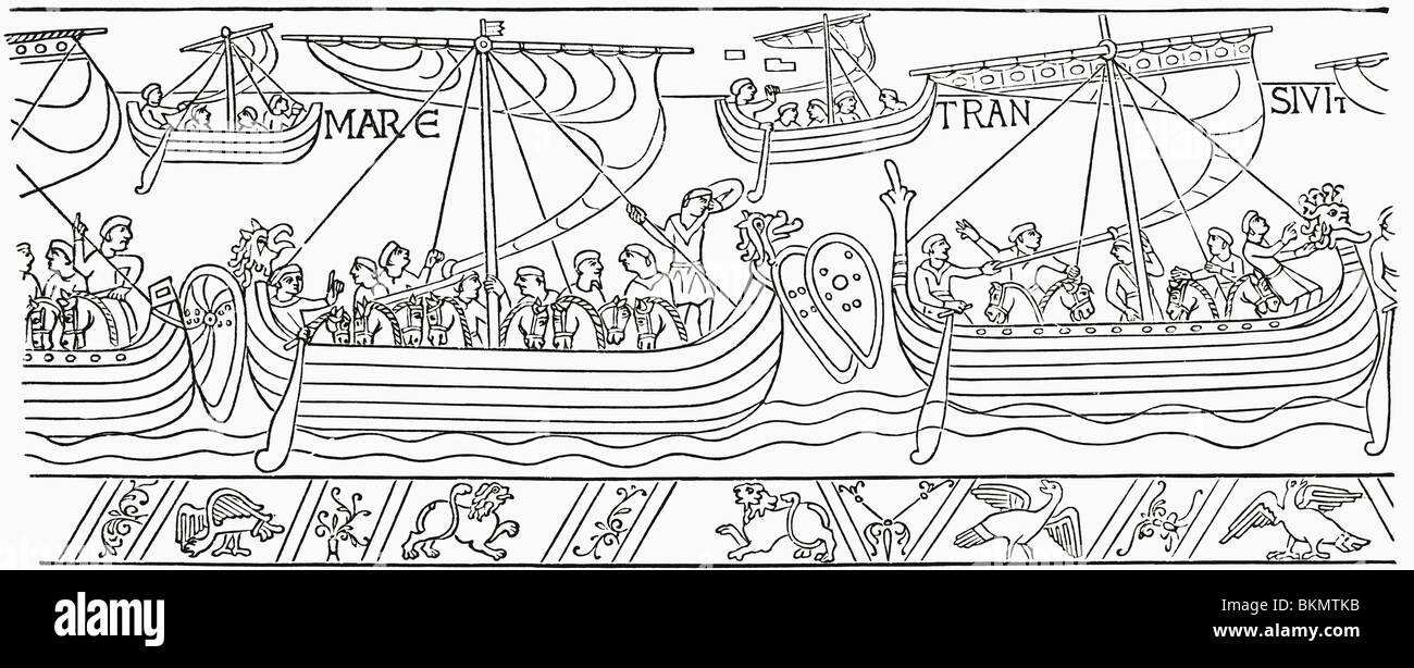 William the Conqueror sailing for England in 1066.  From the Bayeux Tapestry. - Stock Image