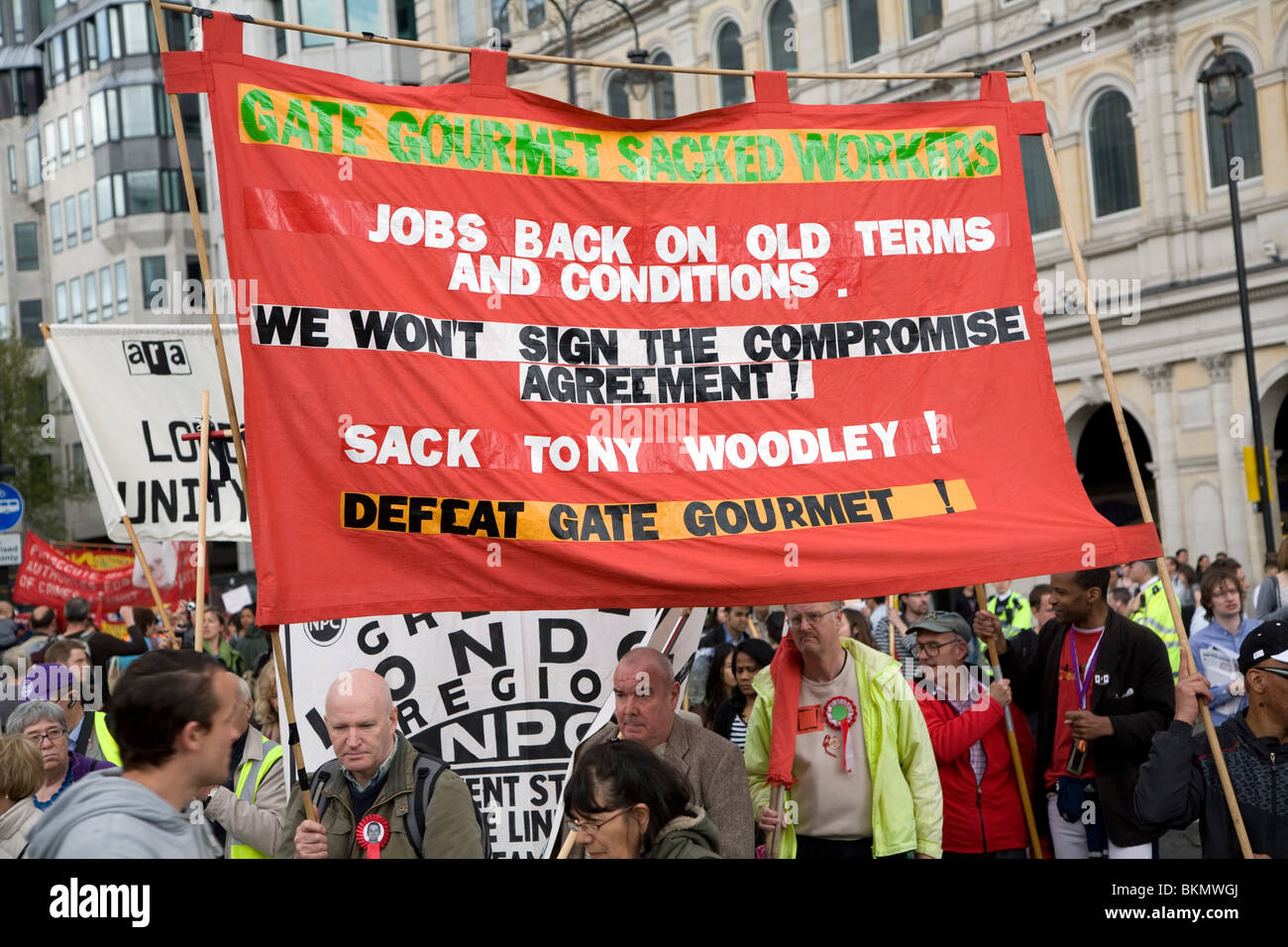 May Day march and rally at Trafalgar Square, May 1st, 2010, Gate Gourmet sacked workers industrial dispute - Stock Image