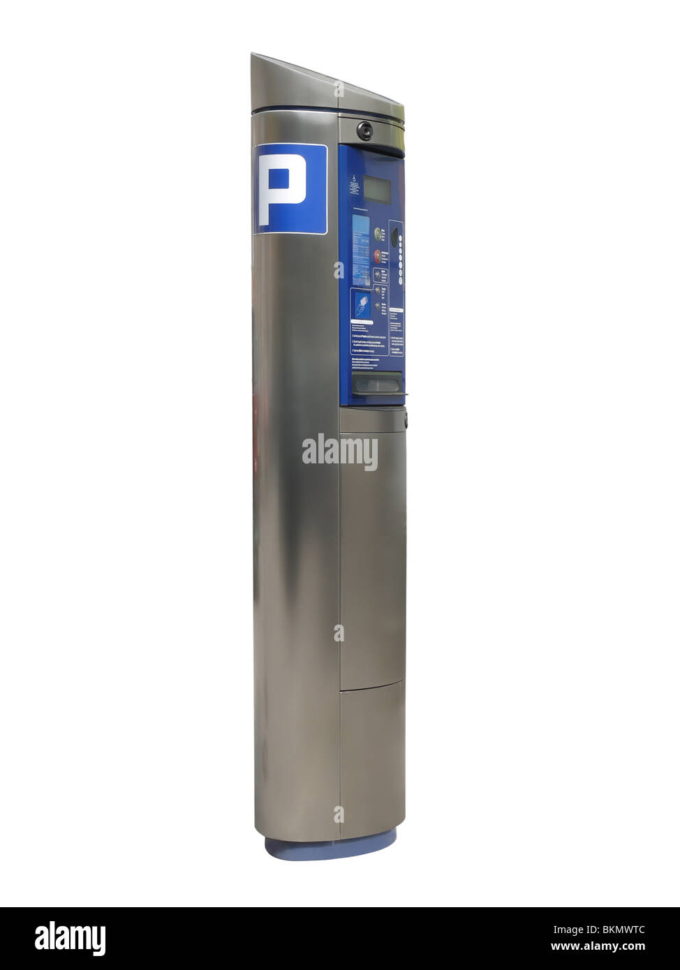 Modern shiny metal parking meter isolated on white - Stock Image