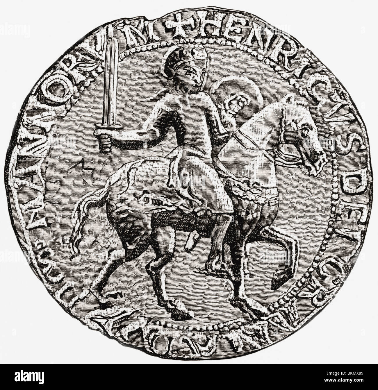 Great Seal of Henry I. Henry I, c. 1068 to 1 1135. King of England. - Stock Image