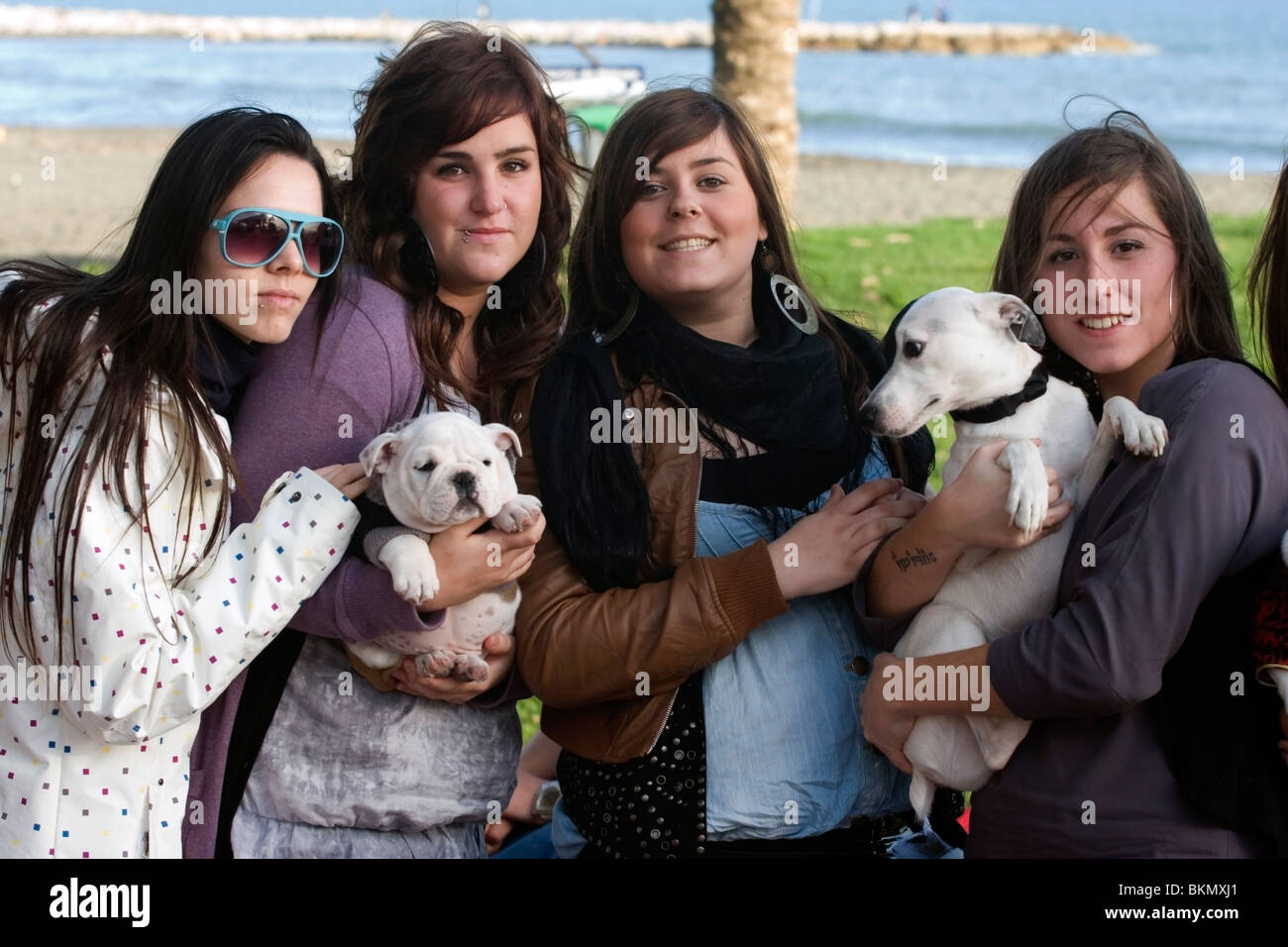 Girls and their puppies - Stock Image