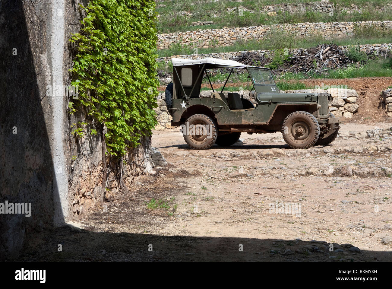 WWII Willy's  US Army Jeep in France - Stock Image