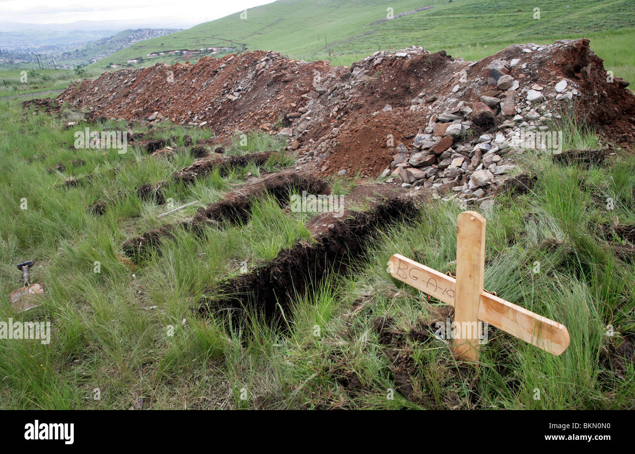 Graves on a cemetery near Pietermaritzburg, South Africa. Many young persons passed away because of HIV and AIDS - Stock Image