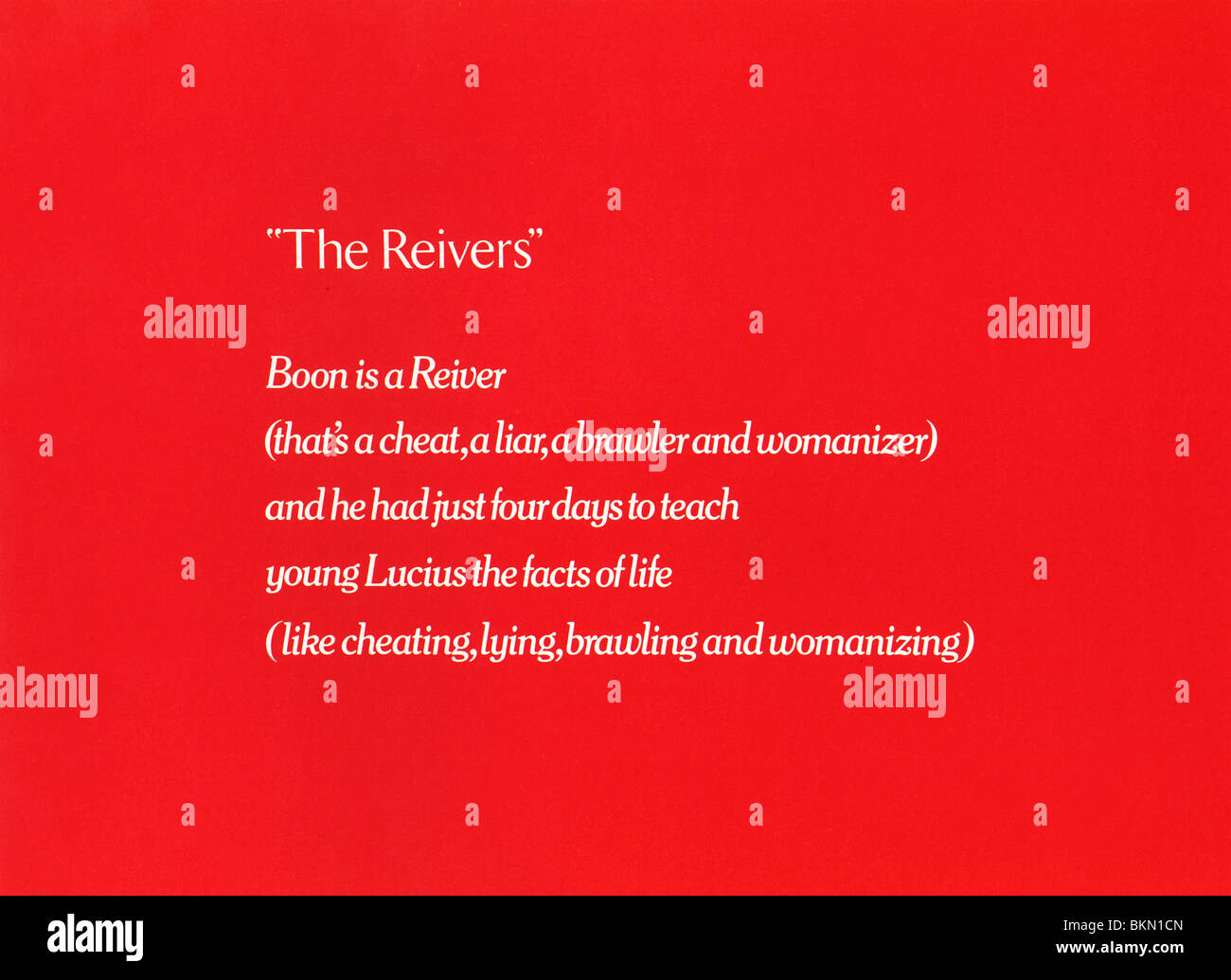 THE REIVERS -1969 - Stock Image