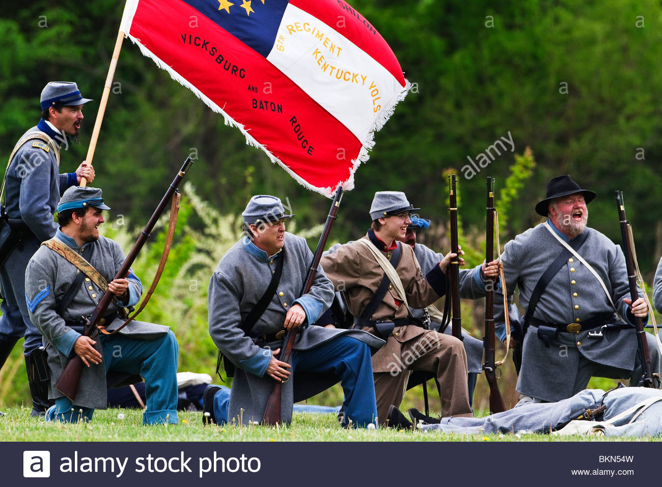Confederate reenactor soldiers on the battle field during a Civil War reenactment - Stock Image