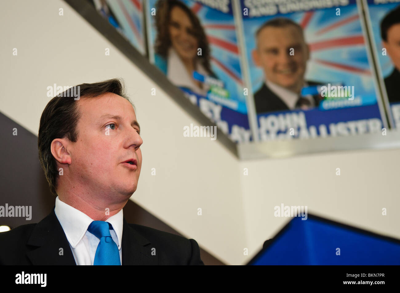 David Cameron on a visit to the Ulster Unionists and Conservatives, Belfast, prior to the 2010 election. Stock Photo