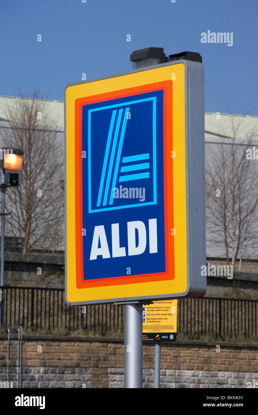 Aldi store sign Buxton Derbyshire England UK - Stock Image