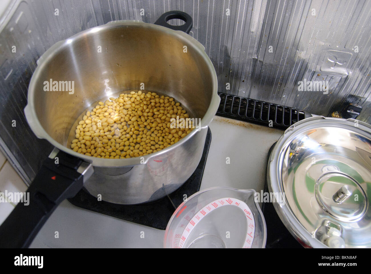 Soy beans ready for steaming in a pressure cooker, Tokyo, Japan, April 27, 2010. - Stock Image