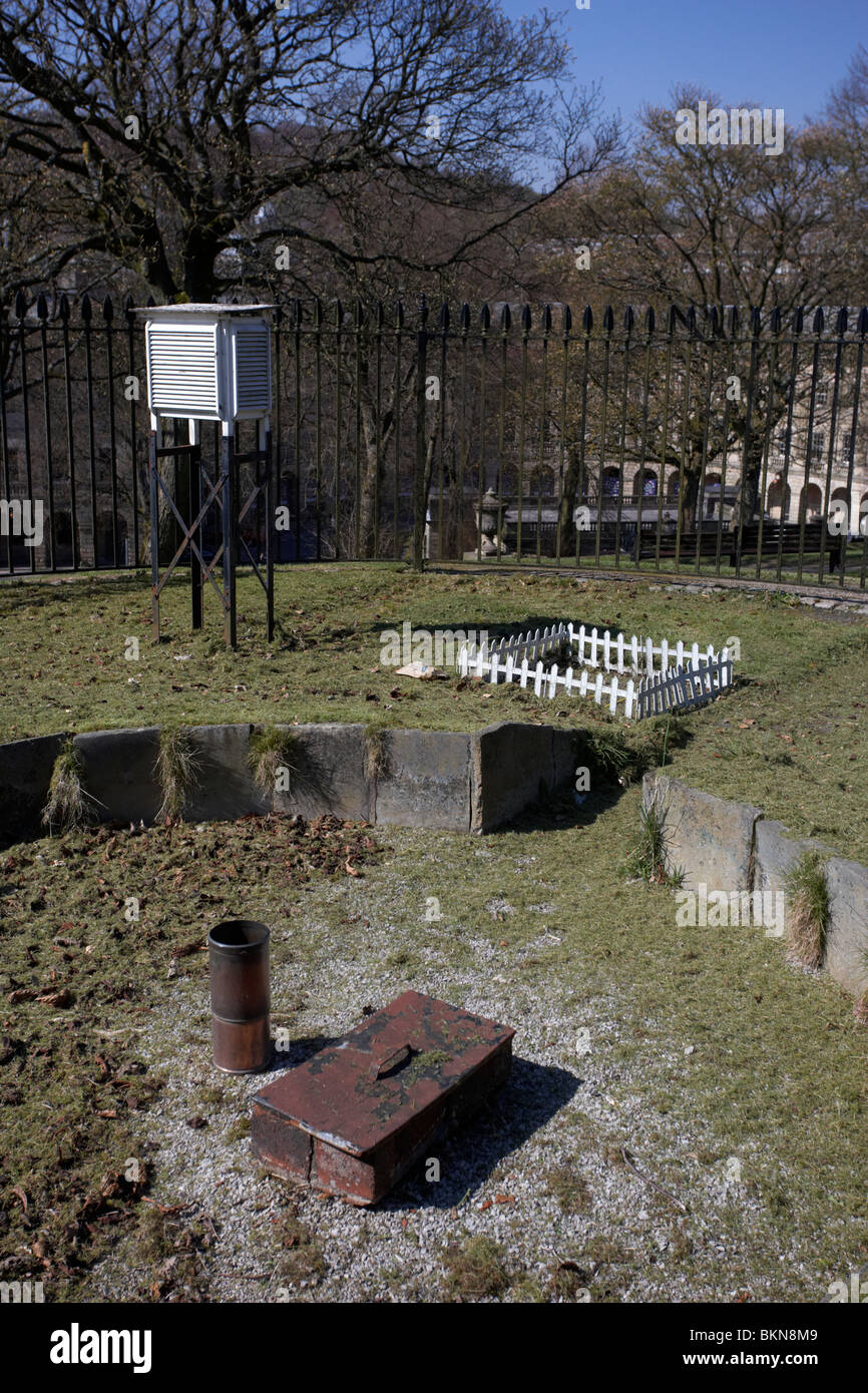 weather monitoring station with stevenson screen rain gauge and temperature measurement Buxton Derbyshire England - Stock Image
