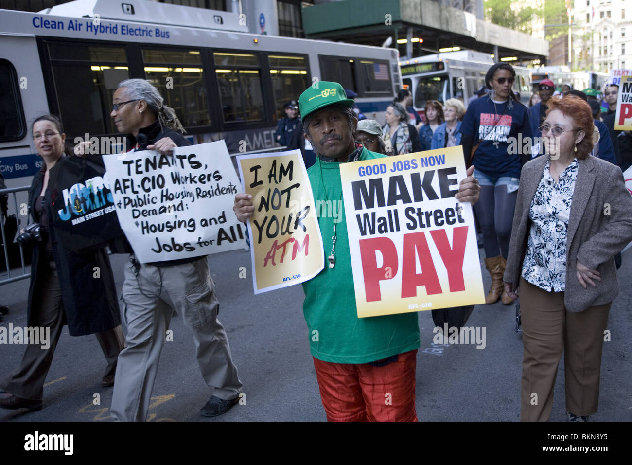 AFL-CIO and other Unions members march to Wall Street along Broadway demanding good jobs and that banks & Wall - Stock Image
