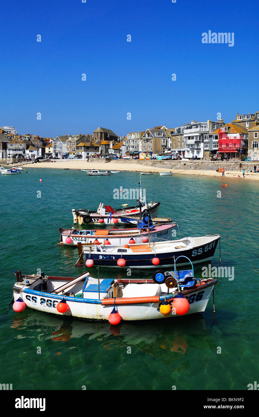 fishing boats in the harbour at st.ives in cornwall, uk Stock Photo