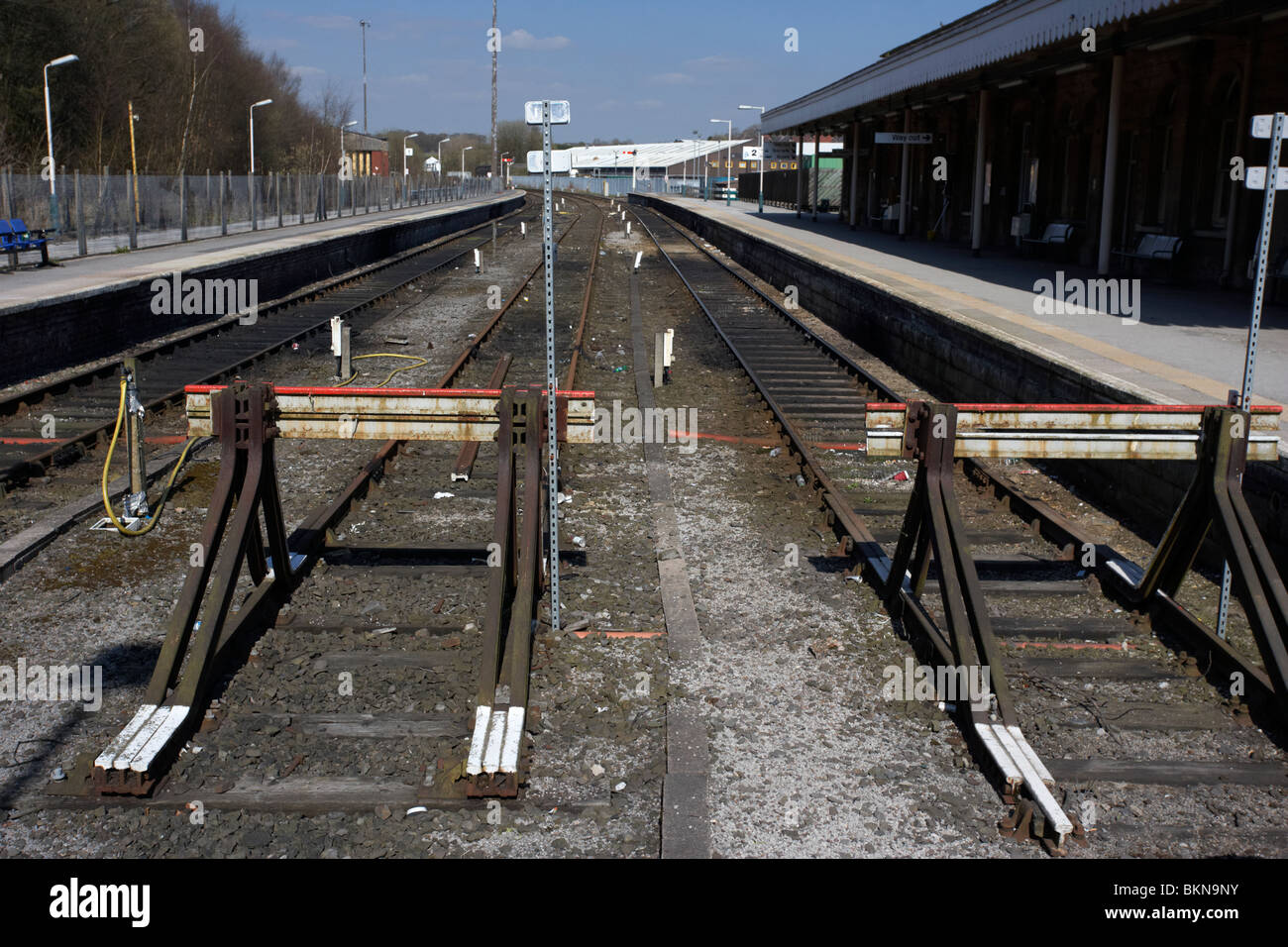 end of the line at buxton railway station Buxton Derbyshire England UK Stock Photo