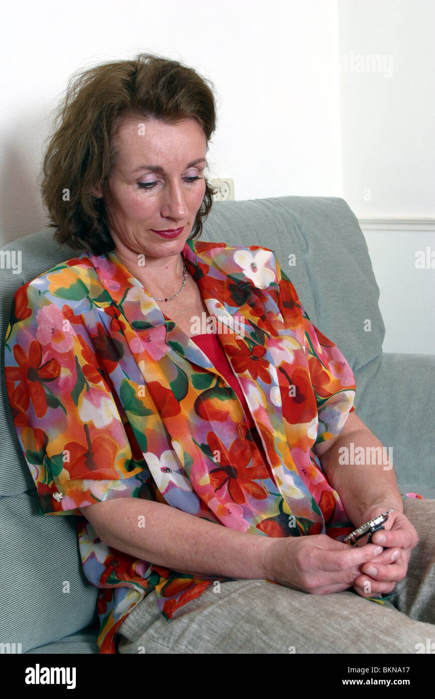 Woman picture sad - Stock Image
