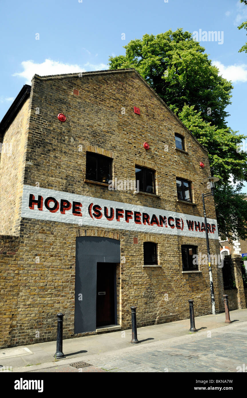Hope (Sufferance) Wharf redundant warehouse in St Mary's conservation area Rotherhithe now a craft workshop - Stock Image