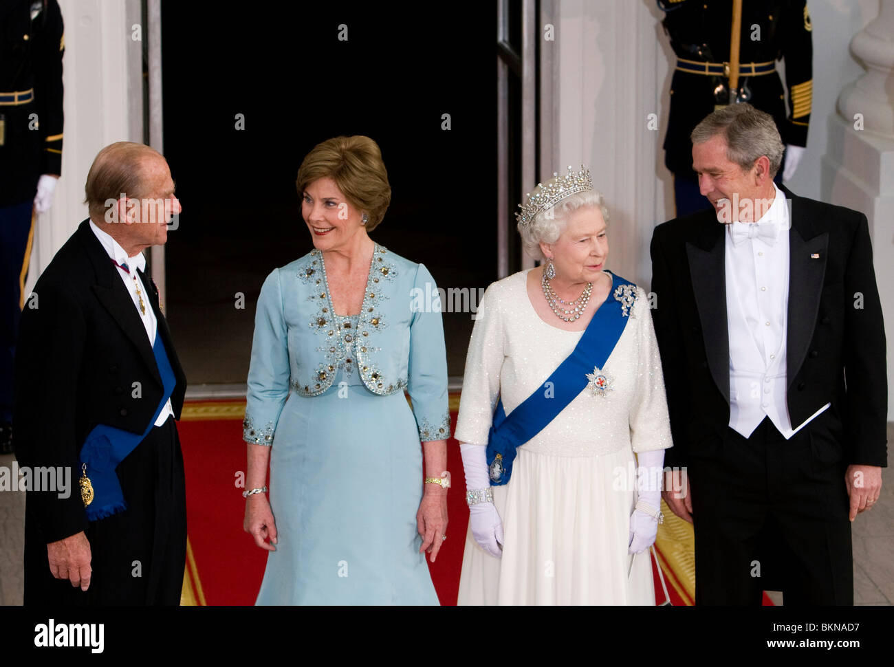 Prince Phillip First Lady Laura Bush Queen Elizabeth And President