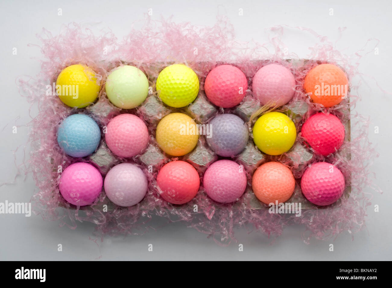 colorful golf balls - Stock Image