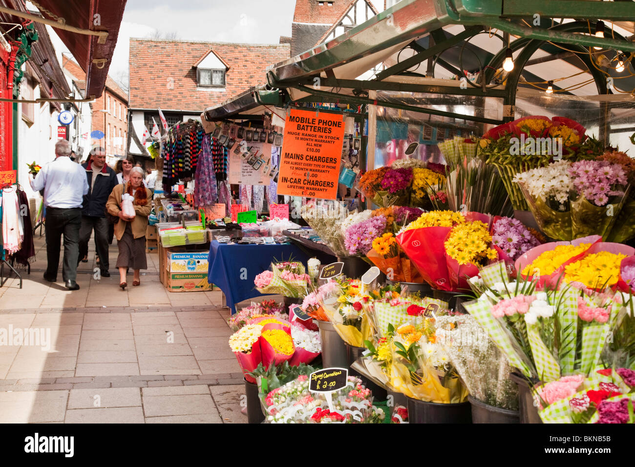 Bustling Newgate Market in the centre of York city, Yorkshire, Uk - Stock Image