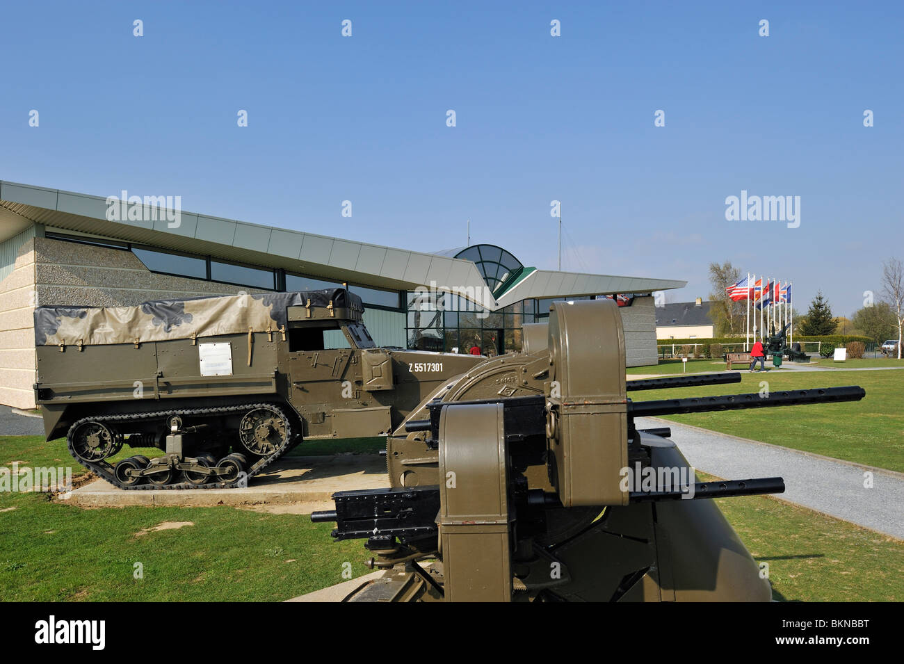 WW2 cannon and half-track armoured fighting vehicle at the World War Two Pegasus Museum near Ouistreham, Normandy, - Stock Image