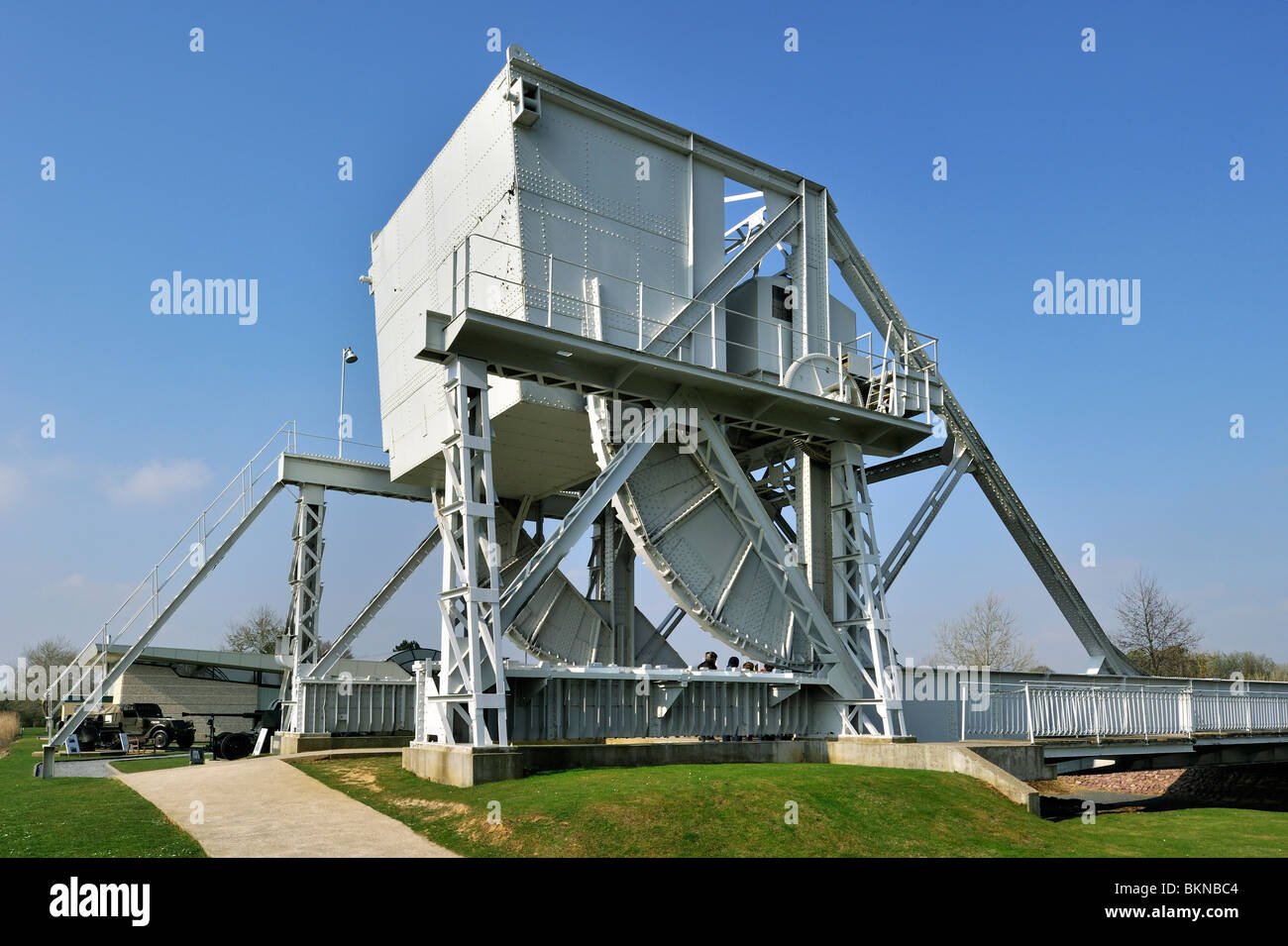 The original Bénouville Bridge at the WW2 Pegasus Museum near Ouistreham, Normandy, France - Stock Image