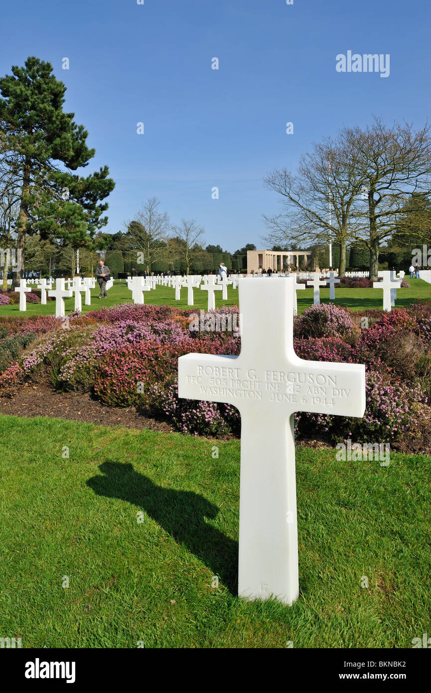 The WW2 Normandy American Cemetery and Memorial is a World War II cemetery and memorial at Colleville-sur-Mer, Normandy, Stock Photo