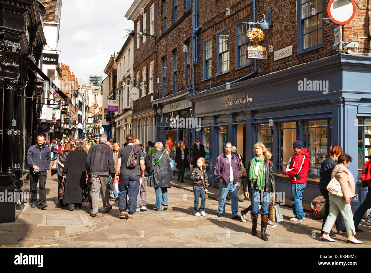 View along the bustling Stonegate in the centre of York city, Yorkshire, Uk - Stock Image