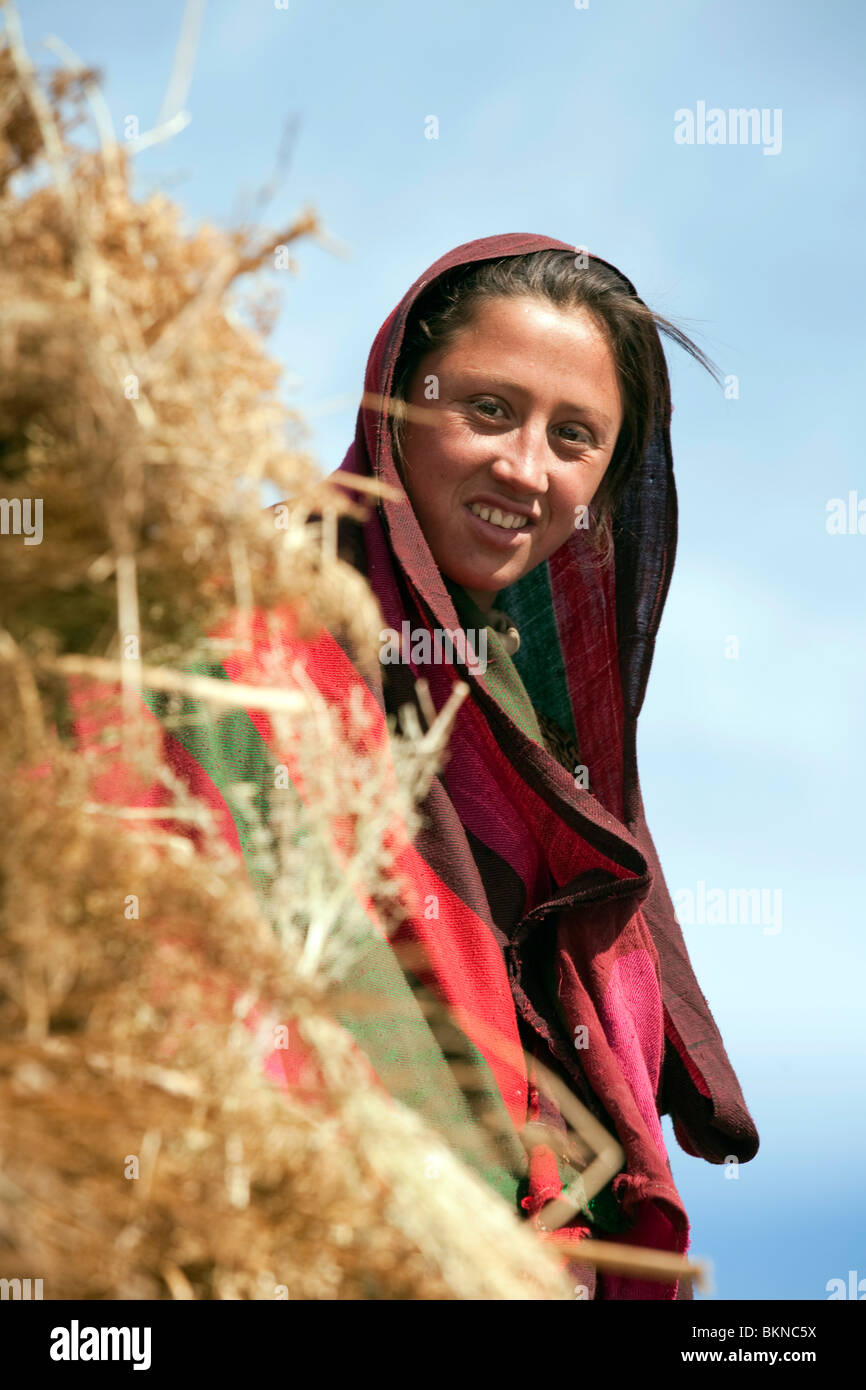 Young woman in Traditional clothing, Chitral region of Northern Pakistan - Stock Image
