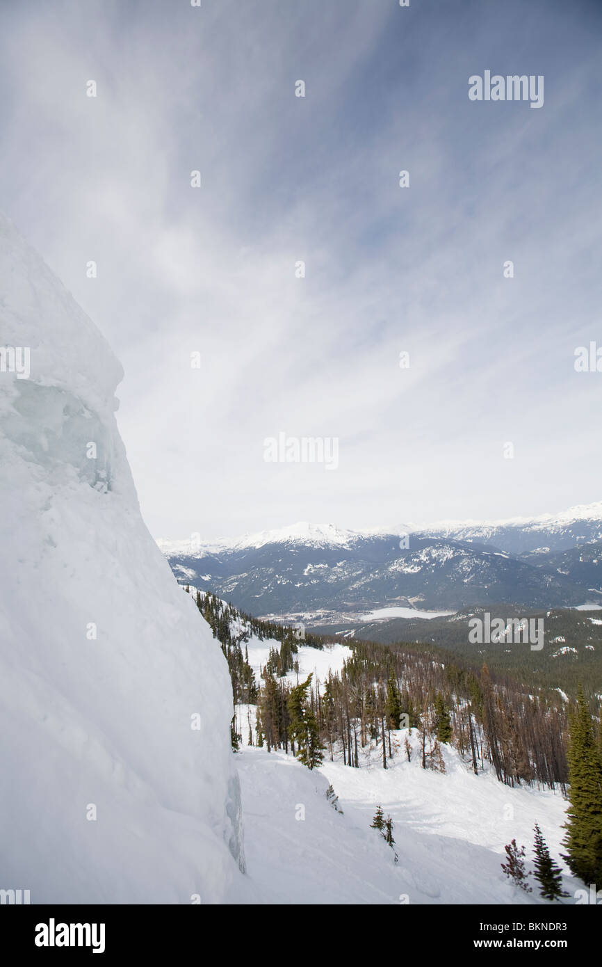 A icy cliff on Blackcomb mountain - Stock Image