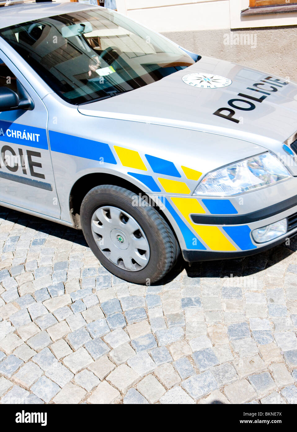 detail of police car, Czech Republic Stock Photo