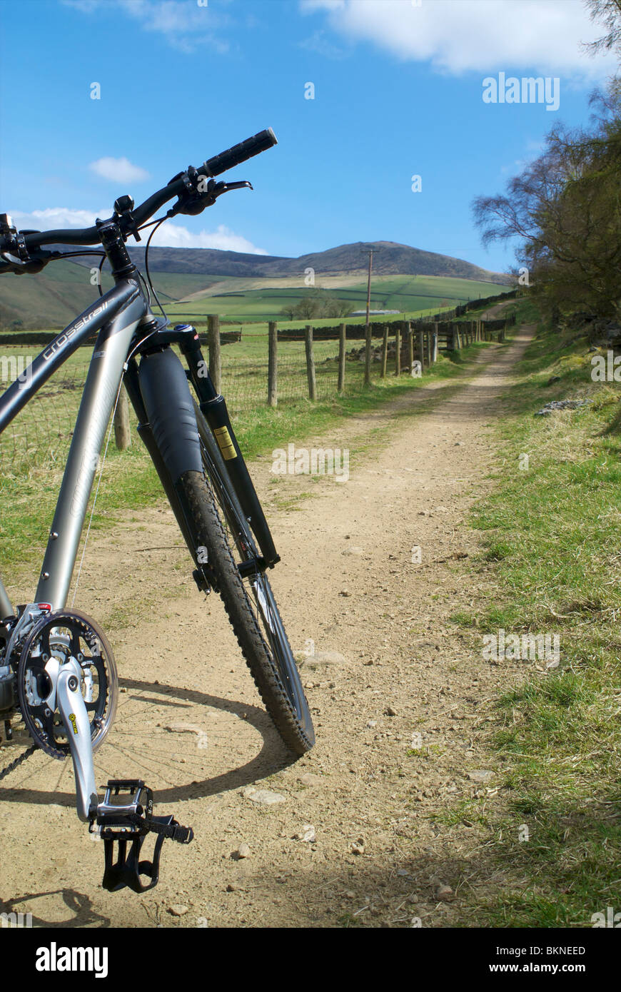 Cycling near Hayfield in the Peak District - Stock Image