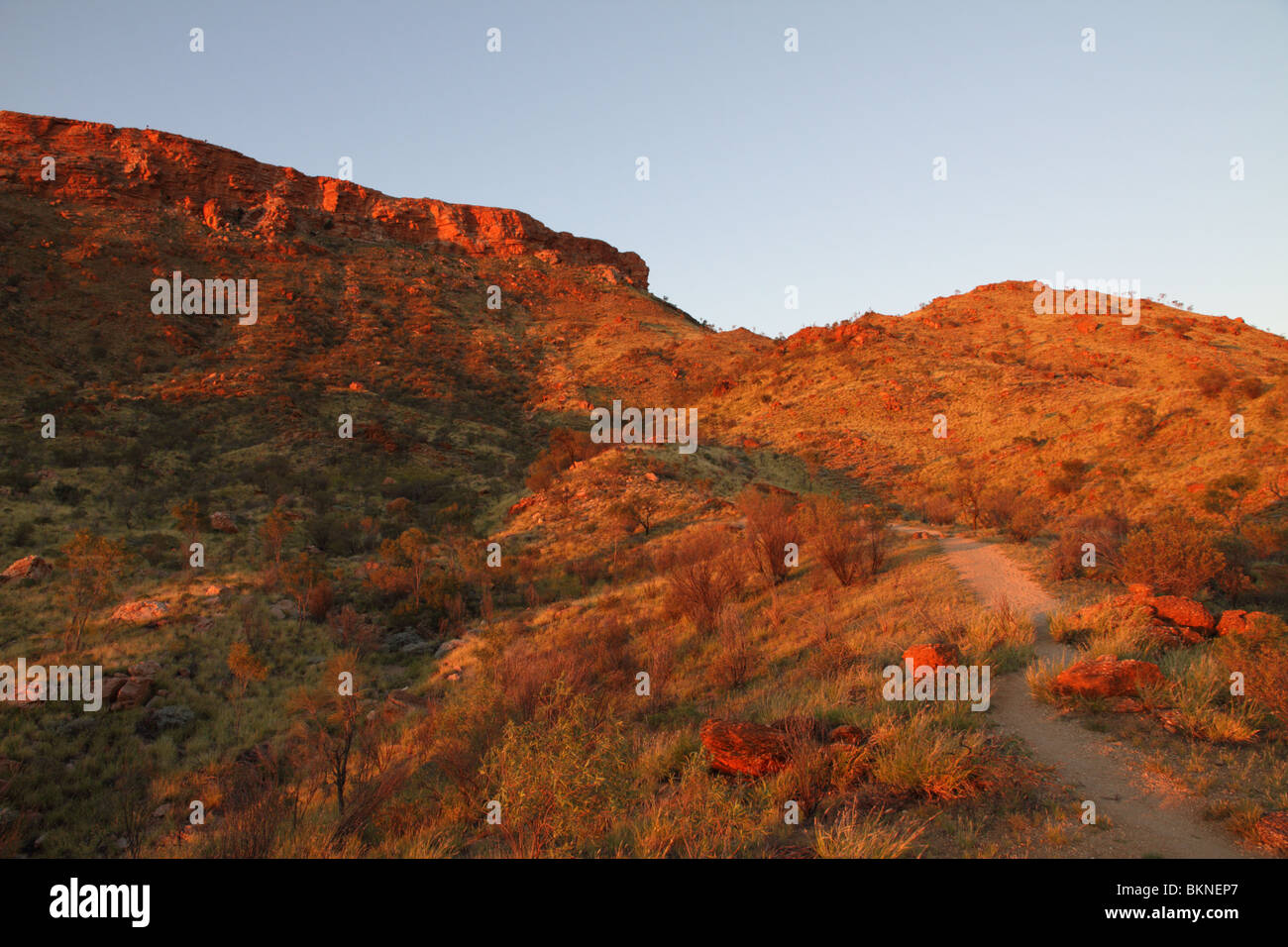 Path up to Mount Gillen in the West MacDonnell Range near Alice Springs. Northern Territory, Australia - Stock Image