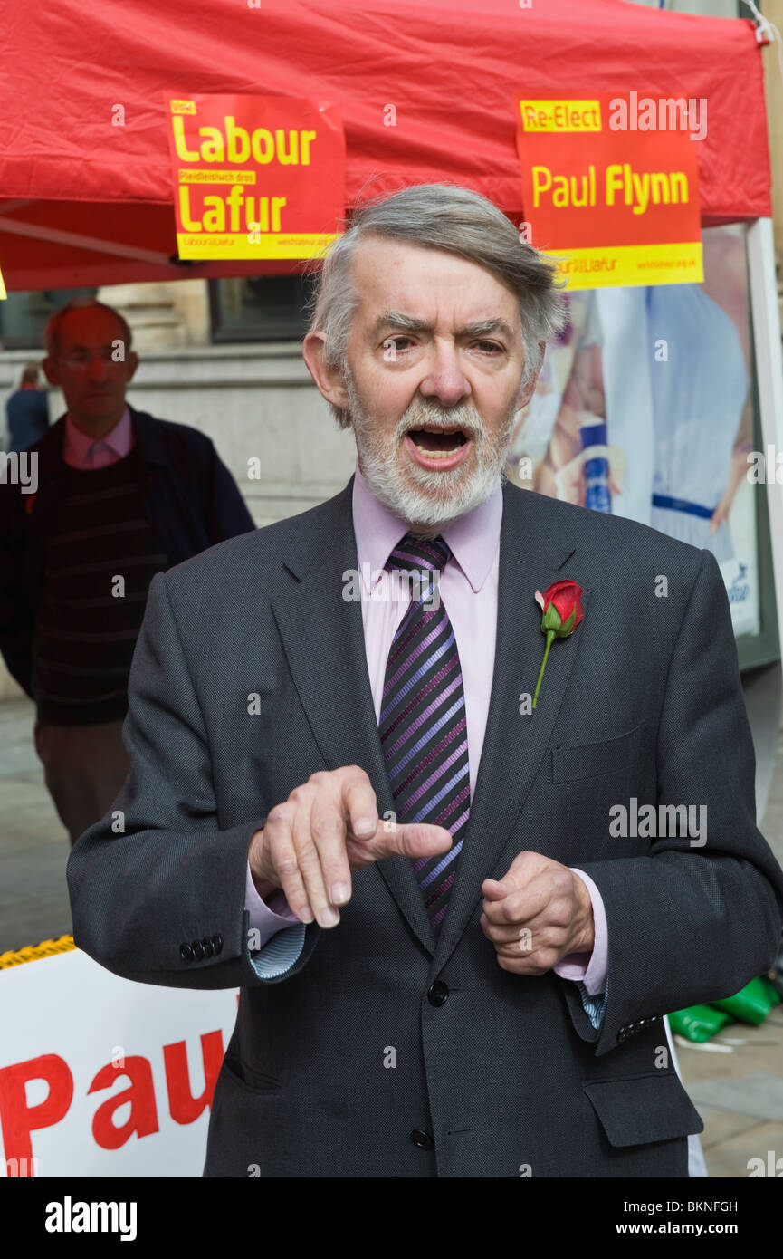 Paul Flynn Labour Party candidate campaigning in city centre for re-election in Newport West constituency South Stock Photo