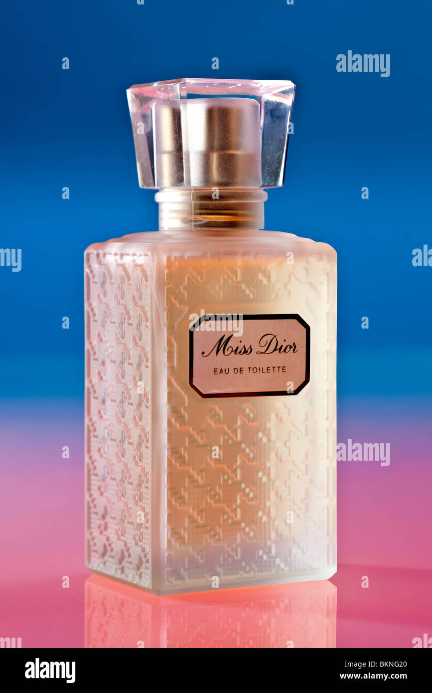 Bottle of Miss Dior Eau De Toilette perfume spray - Stock Image