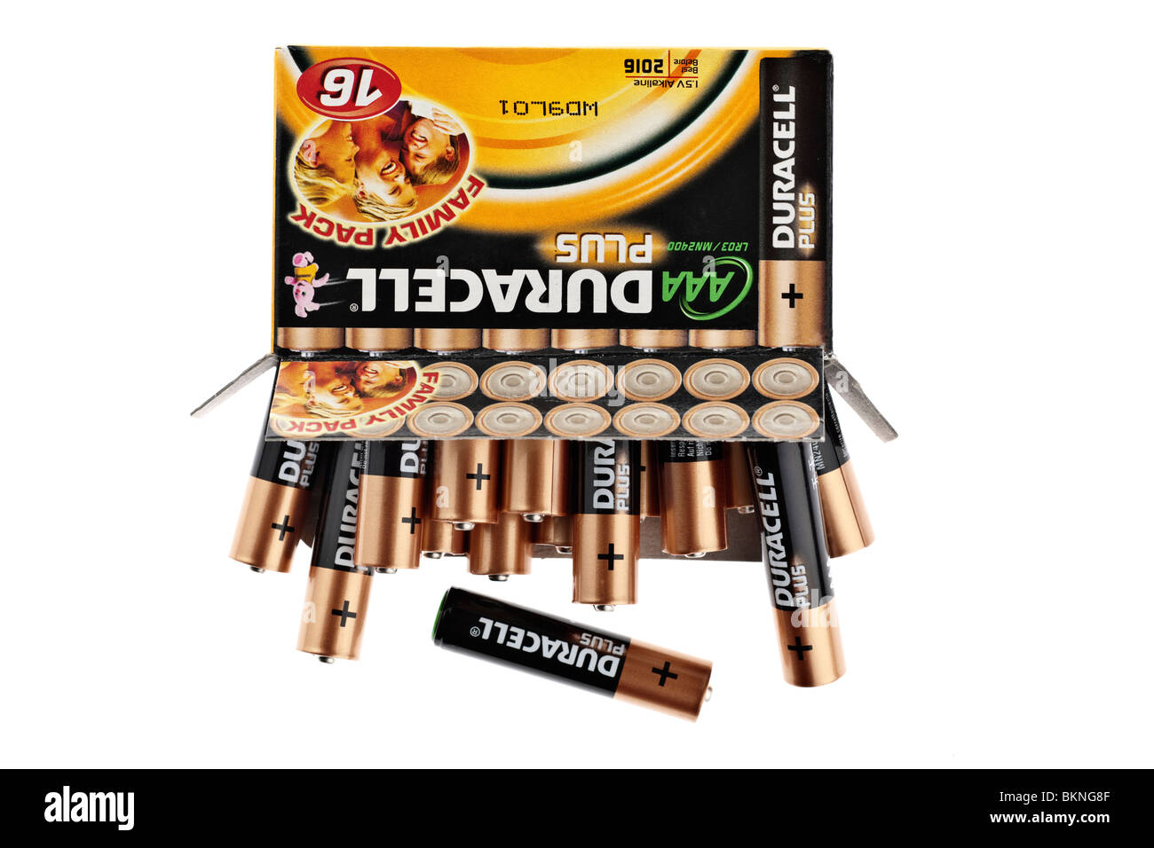 16 box family pack of AAA Duracell Plus batteries - Stock Image